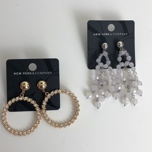 New York & Co fashion earrings 2 pairs